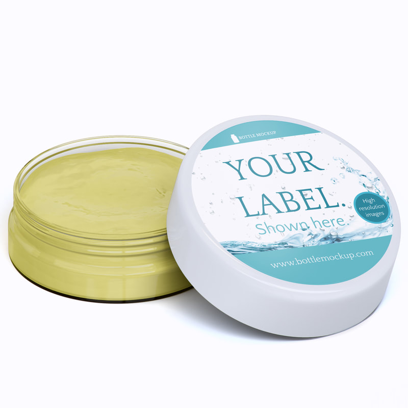 Glass cream salve jar bottle mockup psd example c