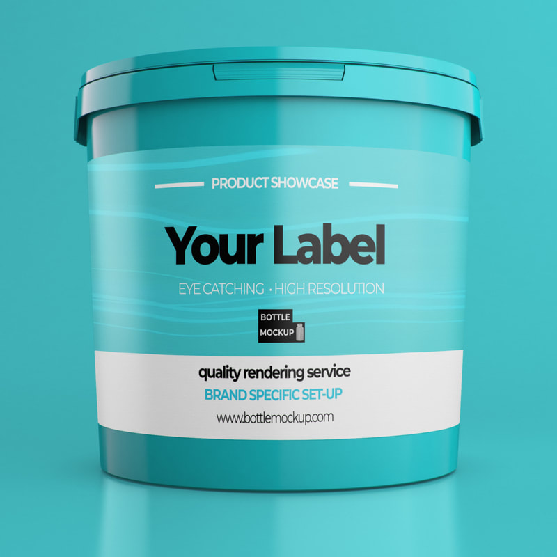 Bucket psd mockup blue