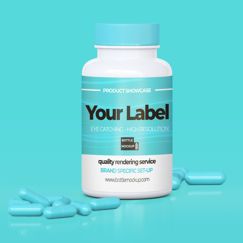 bottle mockup psd with pills 021 b